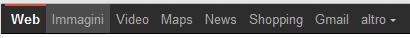 Google menu navigazione nero e grigio