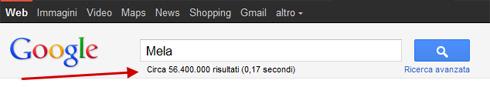 Numero di risultati della ricerca su Google (versione classica)