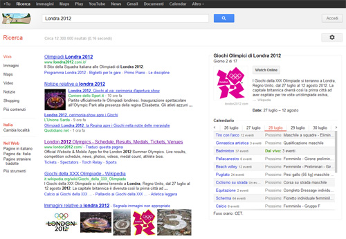 SERP Google Olimpiadi Londra 2012