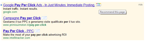 Bottone +1 Annunci Google Adwords