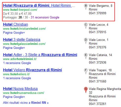 Google Plus Local One Box SERP google.it