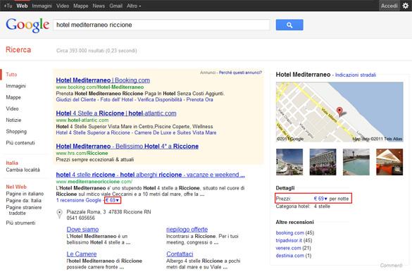 Prezzo Hotel su Google