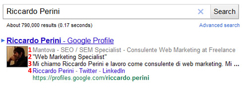 Rich Snippet per Google Profile in SERP