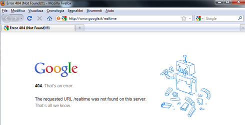 Google Real Time Search - Errore 404 Pagina Non Trovata