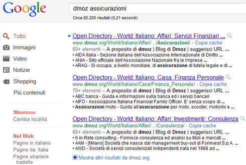 Google Snippet Directory Dmoz
