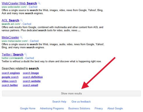 Pagina dei risultati con scroll infinito su Google