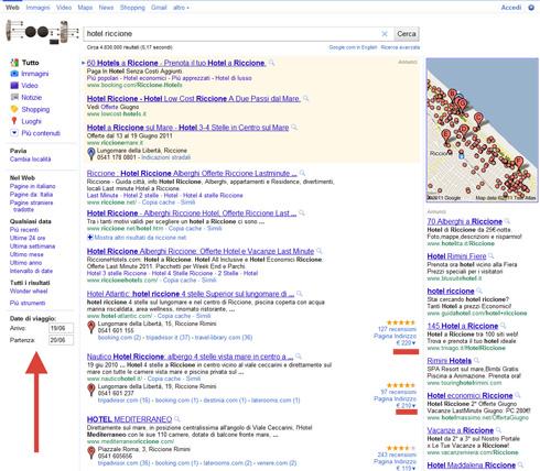 Hotel Riccione: SERP Google con Date di Viaggio