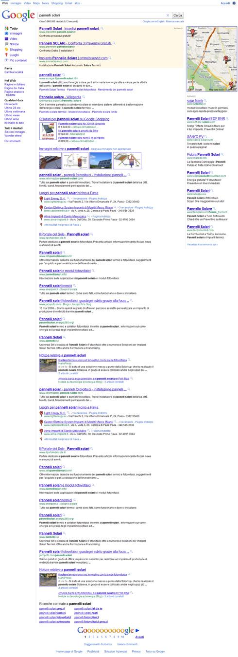 Google Pagina dei risultati lunga (pannelli solari) 20/06/2011