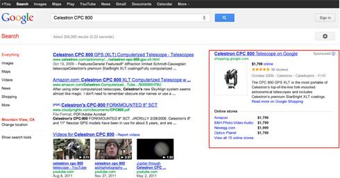 Google Shopping prodotto nella colonna destra