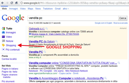 Google Shopping in Italia su google.it