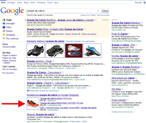 One box Google Shopping nella Universal Search Google.it