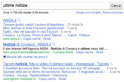 Google link description in azzurro chiaro