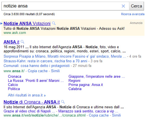 Google description siti notizie con link in linea