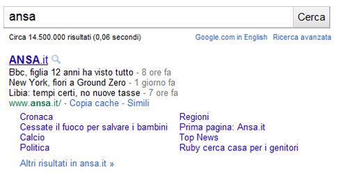 Google snippet ansa.it