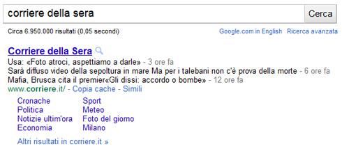 Google snippet Corriere della Sera (04/05/2011)