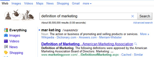 Snippet Google.com ricerca definition of marketing