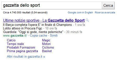 Google snippet Gazzetta dello Sport