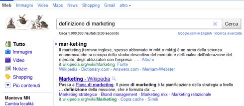 Snippet Google per ricerca definizione