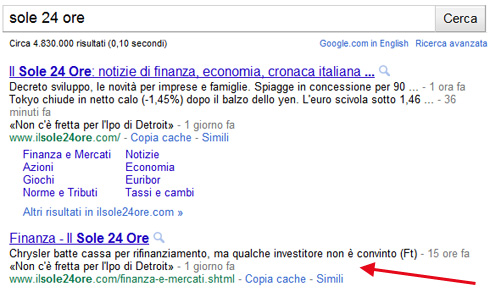 Google description con link per categoria Finanza Sole 24 Ore (06/05/2011)