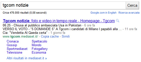Google snippet TGcom (04/05/2011)