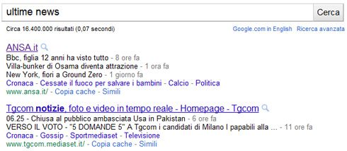 "Google snippet per la ricerca ""ultime news"" (04/05/2011)"