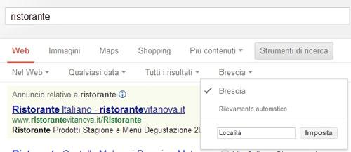 Google strumenti ricerca cambia località