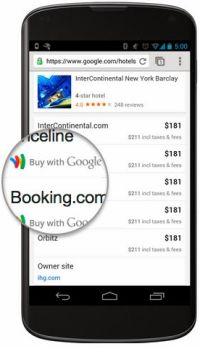 Hotel Finder mobile e prenotazione Buy With Google Wallet