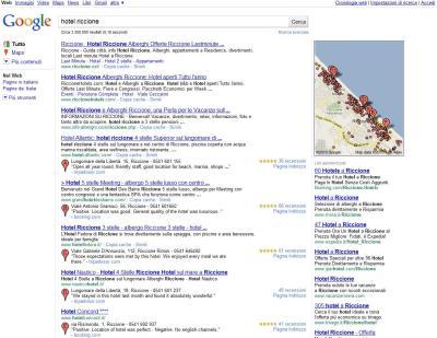 Serp Google.it Hotel Riccione - nuovo layout