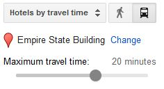 Google Hotels by Travel Time
