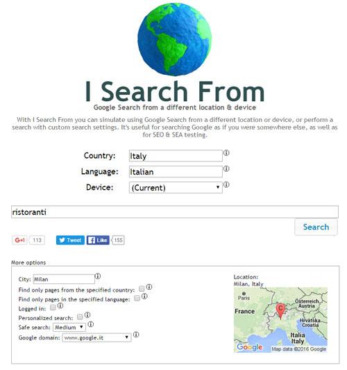 I Search From: emulare località di ricerca su Google