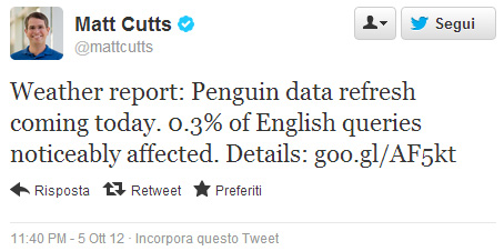 Google Penguin 3.0 Matt Cutts su Twitter