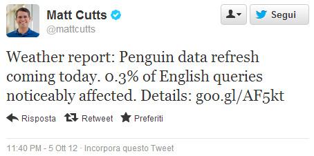 Google Penguin 3.0 Matt Cutts su Twitter