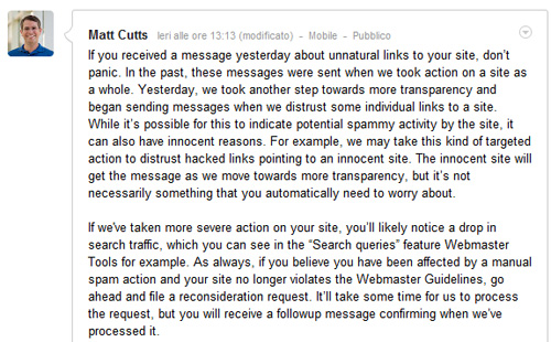 Link non naturali: Messaggio di Matt Cutts su Google+ 20/07/2012