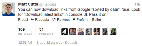 Unnatural links: messaggio Matt Cutts su Twitter 23/07/2012