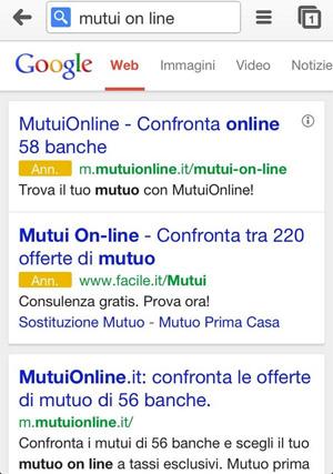 Annunci Adwords mobile sfondo bianco scritta Ann gialla (mutui on line)