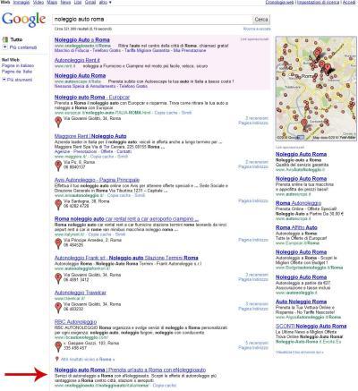 Serp Google.it Noleggio Auto Roma - nuovo layout