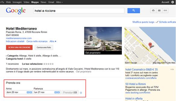 Prenota Ora hotel nella scheda Google Places