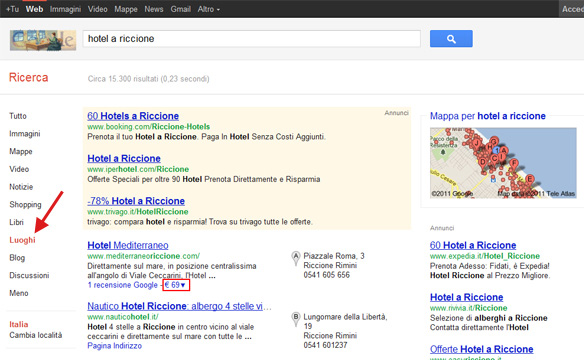 Prezzo Hotel su Google Places