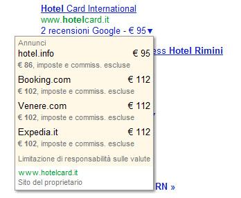 Tendina prezzo hotel su Google