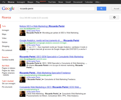 Rich Snippet Autori Google.it rel author