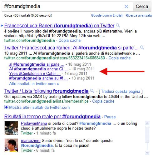 Rich snippet con tweet di Twitter indentati su Google.it