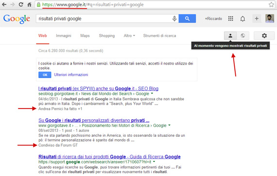 Risultati Privati su Google.it italiano