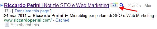 Pulsante +1 nella SERP Google