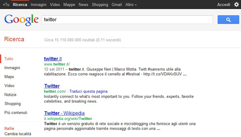 Twitter.it e Twitter.com, risultati ricerca google.it